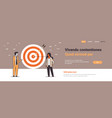 business couple standing near target arrow vector image vector image