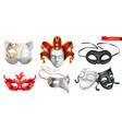 carnival masks 3d icon set vector image