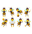 cartoon bee mascot cute honeybee flying bees and vector image