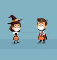 children celebrating halloween while social vector image