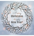 Christmas and New Year with wreath vector image vector image