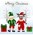 christmas card funny postcard with christmas elf vector image vector image