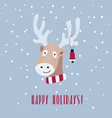 christmas card with cute deer is vector image vector image