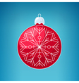 Christmas Red Ball with Snowflake Merry Christmas vector image