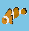 clownfish icon on a blue background vector image