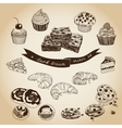 collection pie cakes and sweets icons vector image vector image