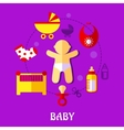 Colorful flat baby design vector image