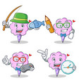 cotton candy character set with fishing student vector image vector image