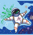 cute cartoon astronaut flies with green leaves in vector image vector image
