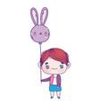 cute little boy cartoon with balloon shaped rabbit vector image