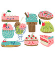 delicious desserts set confectionery and sweets vector image vector image