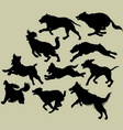 Dog running silhouettes vector | Price: 1 Credit (USD $1)
