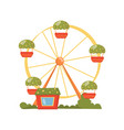 ferris wheel carousel in amusement park cartoon vector image vector image