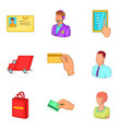 finance adaptation icons set cartoon style vector image vector image