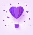 folded violet paper hot air balloon in form of vector image vector image
