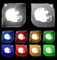 football helmet icon sign Set of ten colorful vector image