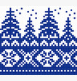 geometric pattern for cross stitch blue christmas vector image