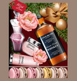 gift box cosmetics and whiskey realistic vector image