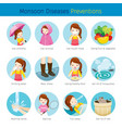 girl with monsoon diseases preventions set vector image vector image