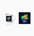 glowing neon fiesta holiday sign for cup design vector image vector image