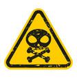 grunge danger skull and bones sign isolated vector image