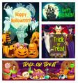 halloween witch vampire wizard ghosts pumpkins vector image vector image