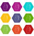 hand grenade icons set 9 vector image vector image