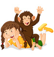 Happy girl and cute monkey vector image vector image