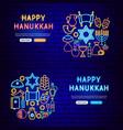 happy hanukkah neon banners vector image vector image