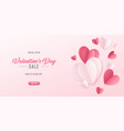 happy st valentines day card with 3d paper hearts vector image vector image