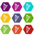 harp icon set color hexahedron vector image