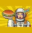 hungry woman astronaut with burger vector image vector image