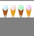 ice cream in belgian wafflessundaechinese waffle vector image vector image