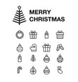 icon set merry christmas greeting card with vector image