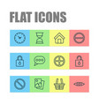 internet icons set with safeguard refuse estate vector image