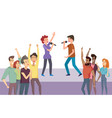 man and woman singing on stage concert vector image vector image