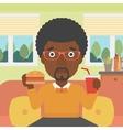 Man eating hamburger vector image vector image