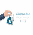 men hand holding key with house vector image