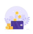 money wallet with dropping coins flat design vector image vector image