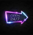 neon sign open 24 7 arrow pointer on black brick vector image