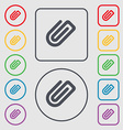 Paper Clip icon sign symbol on the Round and vector image