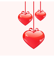 Red glossy hearts hanging with ribbon bows vector image vector image