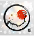red sakura cherry tree bllossom red sun and two vector image vector image