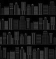 Seamless pattern of line skyscrapers Black and vector image vector image