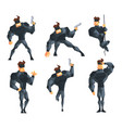 secret agent in different actions posing with gun vector image vector image