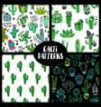 set cacti seamless patterns vector image