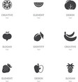 set of 9 editable fruits icons includes symbols vector image vector image