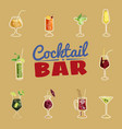 set of cocktails isolated icons packaging web vector image