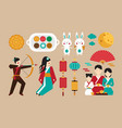 set of elements dedicated to the chinese festival vector image vector image
