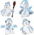 Set of funny Christmas snowman cartoon vector image